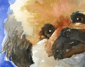 Pekingese Art Print of Original Watercolor Painting 8x10