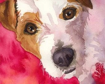 Jack Russell Terrier Art Print of Original Watercolor Painting - 11x14
