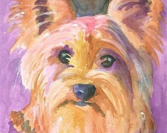 Yorkshire Terrier art Print of Original Watercolor Painting - 11x14