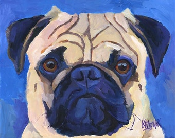 Pug Dog Art Print of Original Acrylic Painting - 8x10
