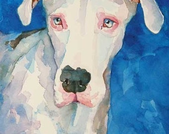 White Great Dane Art Print of Original Watercolor Painting - 8x10