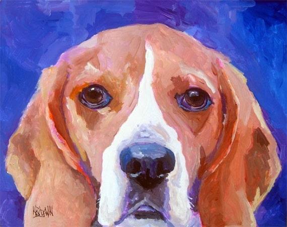Beagle Art Print of Original Acrylic Painting - 8x10 Dog Art