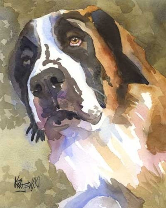 Saint Bernard Art Print of Original Watercolor Painting - 8x10