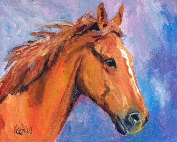 Chestnut Horse Art Print of Original Oil Painting 8x10