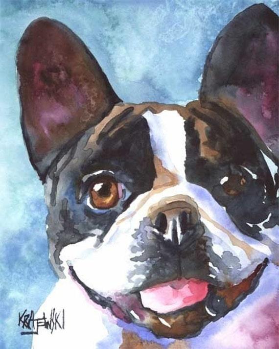 French Bulldog Art Print of Original Watercolor Painting - 11x14