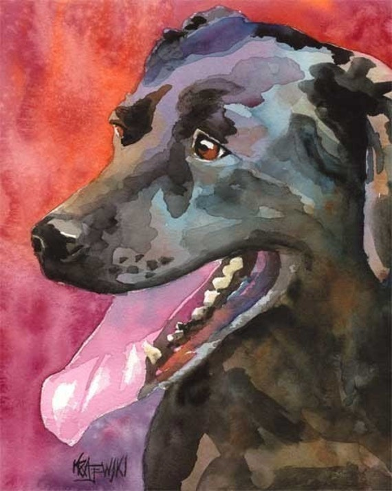Labrador Retriever Art Print of Original Watercolor Painting - 11x14 Black Lab