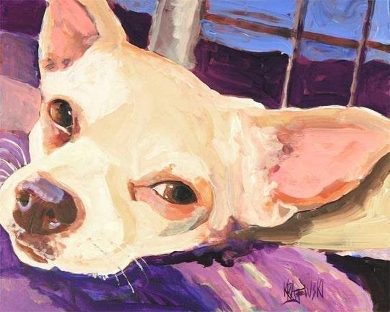 Chihuahua Art Print of Original Acrylic Painting - Dog Art 8x10