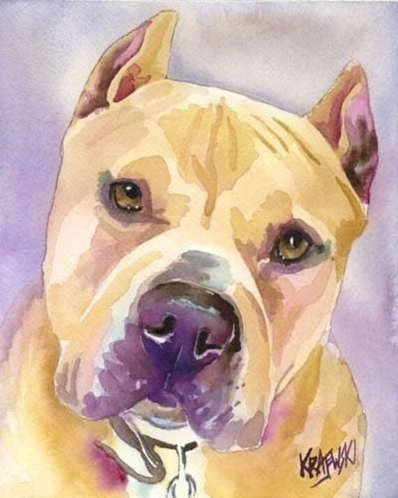 """Pitbull Terrier Art Print of Original Watercolor Painting 8x10"""" Dog Art"""