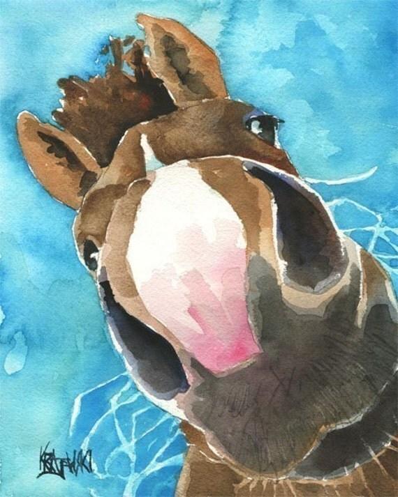 Nosey Horse Art Print of Original Watercolor Painting 11x14