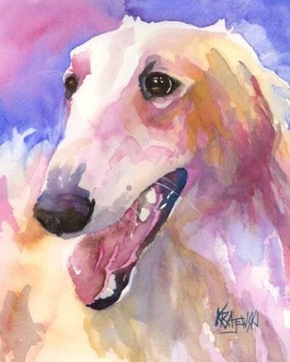 Borzoi Art Print of Original Watercolor Painting - 8x10 Dog Art