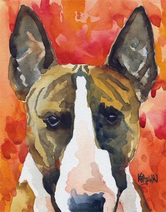 Bull Terrier Original Watercolor Painting