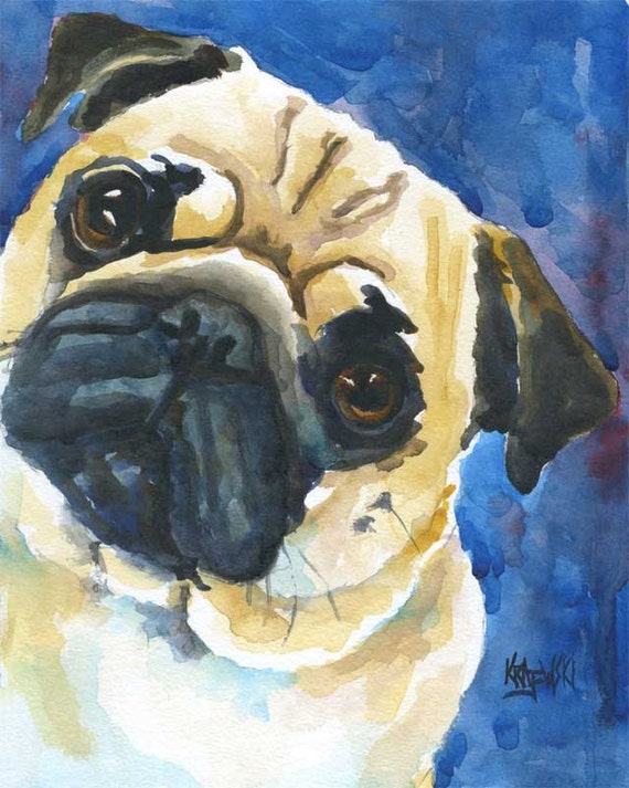 Pug dog art print of original watercolor painting 11x14 for Dog painting artist
