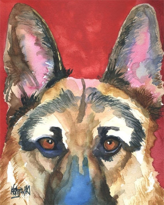 German shepherd art print of original watercolor painting 8x10