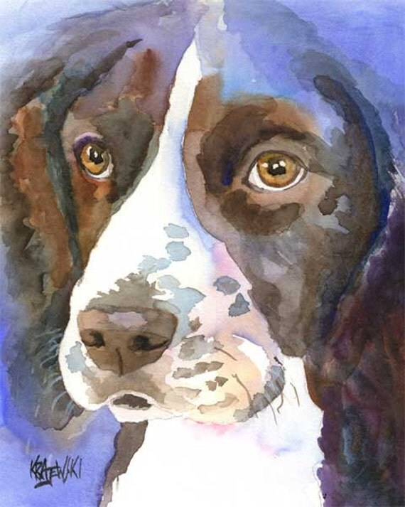 English Springer Spaniel Dog Art Print of Original Watercolor Painting - 8x10