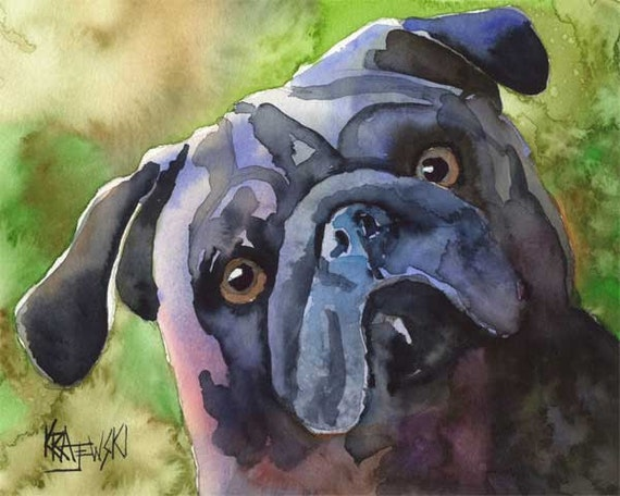 Pug Dog Art Print of Original Watercolor Painting - 8x10