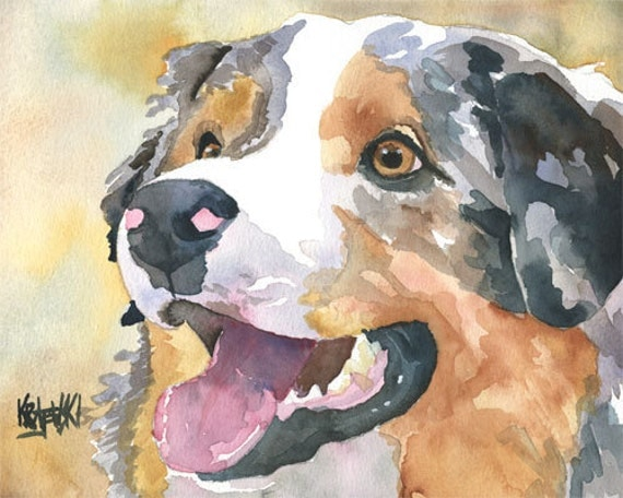 Australian Shepherd Art Print of Original Watercolor Painting - 8x10