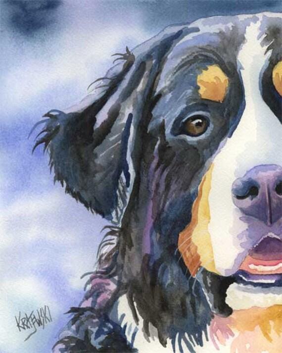 Bernese Mountain Dog Art Print of Original Watercolor Painting 8x10