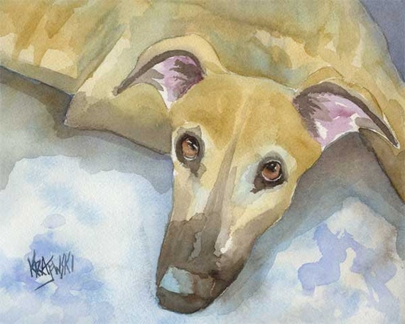 Greyhound Art Print of Original Watercolor Painting - 8x10