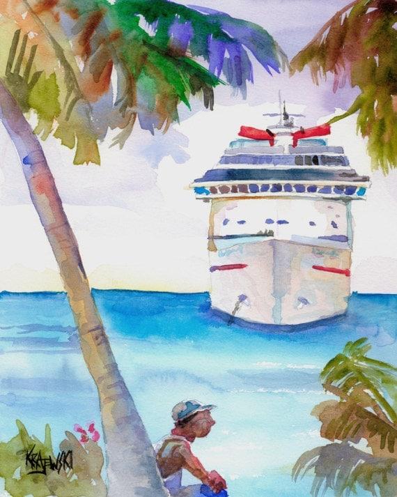 Cayman Cruise Ship Original Watercolor Painting