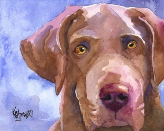 Chesapeake Bay Retriever Art Print of Original Watercolor Painting 8x10