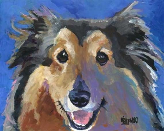 Shetland Sheepdog Art Signed Print by Ron Krajewski