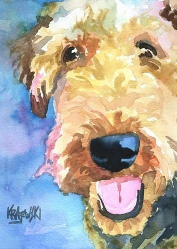Airedale Terrier Dog Signed ACEO Art Card Print