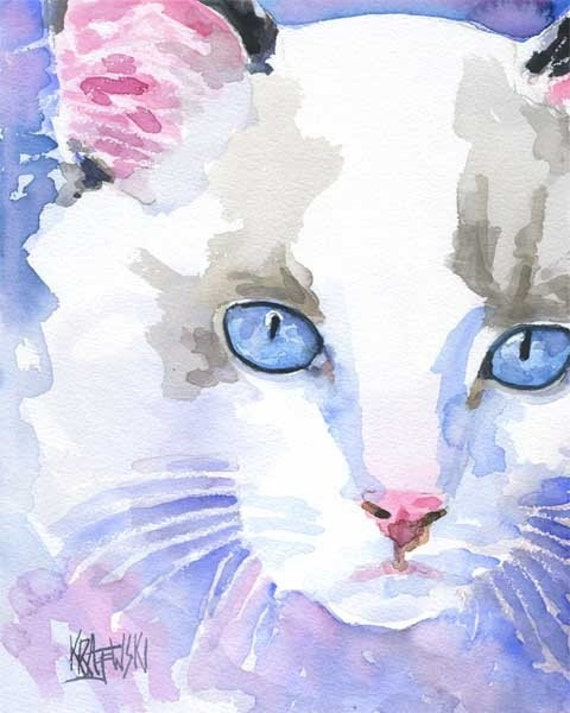Ragdoll Cat Art Print of Original Watercolor Painting - 8x10