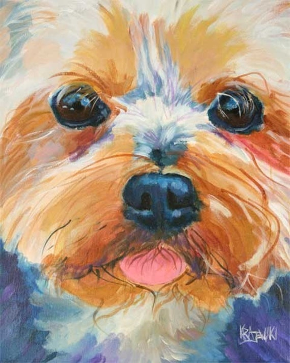 Yorkshire Terrier Art Print of Original Acrylic Painting - 11x14