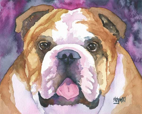 English Bulldog Art Print of Original Watercolor Painting
