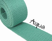 """Cotton Webbing - Aqua - 1.25"""" Medium Heavy Weight for Key Fobs, Purse Straps, Belting - SEE COUPON"""