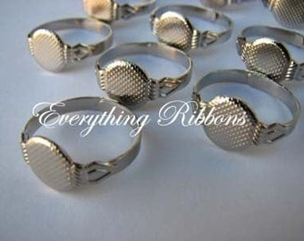 12 Adjustable Rings with Glue Pad for Fabric Covered Button Rings - 10 PERCENT REFUND