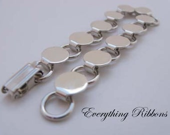 Disk / Loop Bracelet Blank 7.75 Inch with 9mm Glueable Pads - 10 PERCENT REFUND