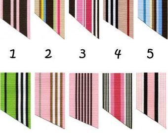 7/8 Inch Preppy Stripe Ribbon - 1 YARD - for making Ribbon Key Fob Key Chains Wristlets - SEE COUPON