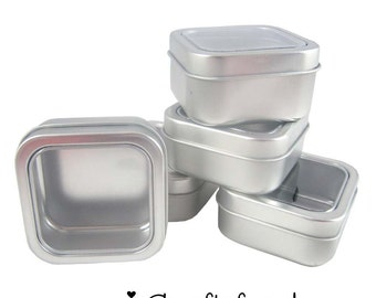 5 Gift / Storage - 2 oz. - Small Square Clear View Top Metal Tins  - SEE COUPON