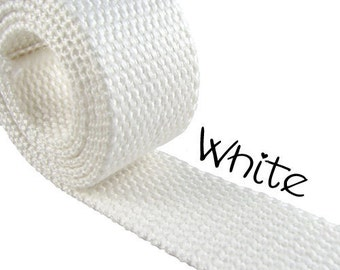 """Cotton Webbing - White - 1.25"""" Medium Heavy Weight for Key Fobs, Purse Straps, Belting - SEE COUPON"""