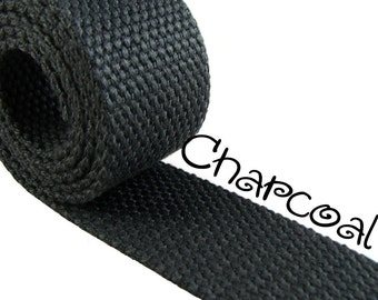"Cotton Webbing - Charcoal - 1.25"" Medium Heavy Weight for Key Fobs, Purse Straps, Belting - SEE COUPON"