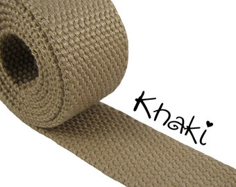 """Cotton Webbing - Khaki - 1.25"""" Medium Heavy Weight for Key Fobs, Purse Straps, Belting - SEE COUPON"""