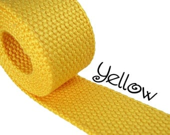 """Cotton Webbing - Yellow - 1.25"""" Medium Heavy Weight for Key Fobs, Purse Straps, Belting - SEE COUPON"""
