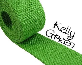"Cotton Webbing - Kelly Green - 1.25"" Medium Heavy Weight for Key Fobs, Purse Straps, Belting - 10 PERCENT REFUND"