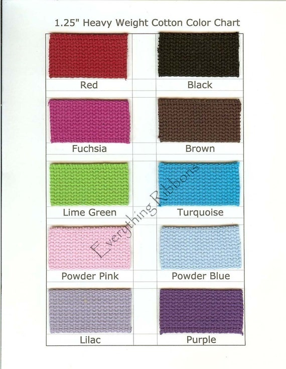 10 - PRECUT 10 INCH Pieces - 1.25 INCH Heavy Cotton Webbing for Key Fobs - Your Color(s) Choice