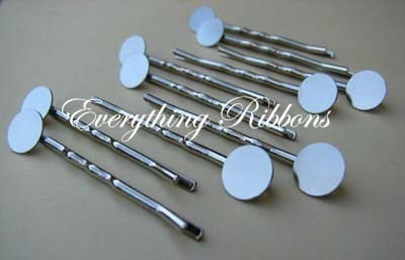 100 Bobby Pins with Glue Pad for Fabric Covered Button Bobby Pins