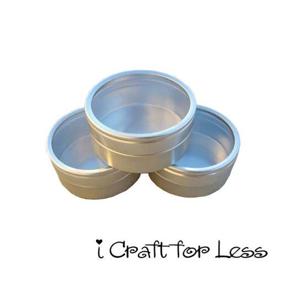 5 Gift / Storage / Favor Tins - 1 oz. - Small Round Clear View Top Metal Tins - 10 PERCENT REFUND