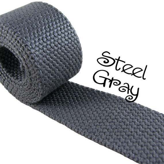 "Cotton Webbing - Steel Gray - 1.25"" Medium Heavy Weight for Key Fobs, Purse Straps, Belting - SEE COUPON"