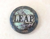 1 inch Altered Art LEAP Inspiration Teal Blue Gold Grunge Scrapbook style Wood Circle Pendant Tile