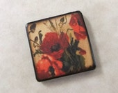 "1"" inch Red Golden Green Poppy Flowers vintage postcard Square Pendant Charm double sided Focal Wood Tile"