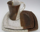 Rustic Stoneware Place Setting in Earthy Red and White