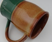 Large Beer Mug - Forest Green and Spicy Tan