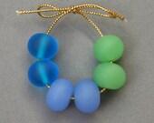 Seaglass style lampwork beads
