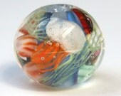 Oceanic lampwork focal bead with jelly fish