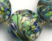 Lampwork lentil set - blue and green wave